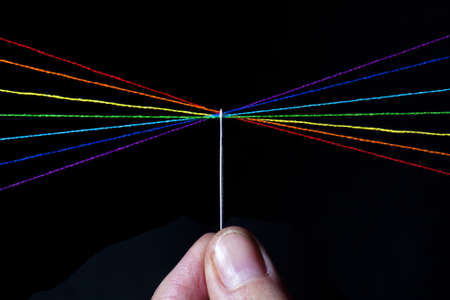 Spectrum of thread through the eye of a needle