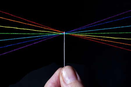 Spectrum of thread through the eye of a needle