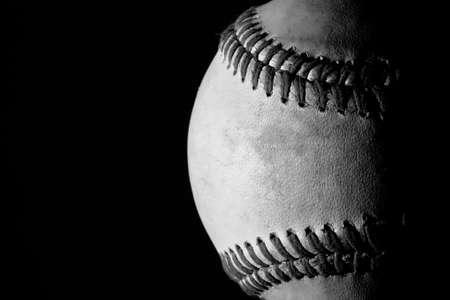 Black and white old baseball Stock Photo
