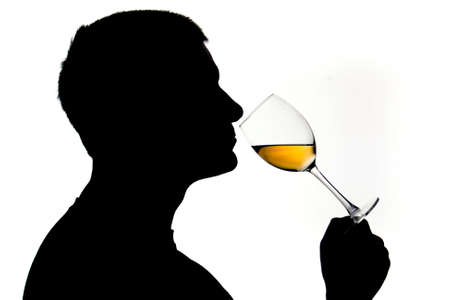 Silhouetted male examining white wine photo