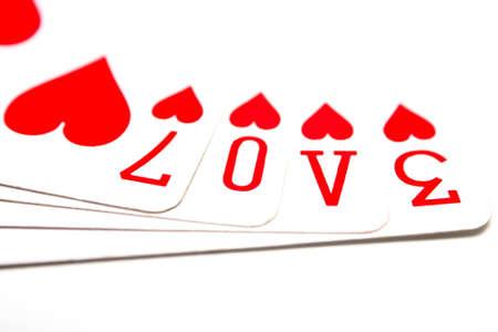 jeu de carte: Love �nonc�e dans les symboles de cartes � jouer