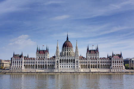 Hungarian Parliament building on the banks of the river Danube, Budapest Hungary Stock Photo