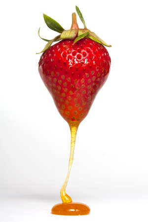 Strawberry dripping with toffee sauce