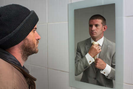 tramp: Homelss man looking in mirror and seeing dreams of the future