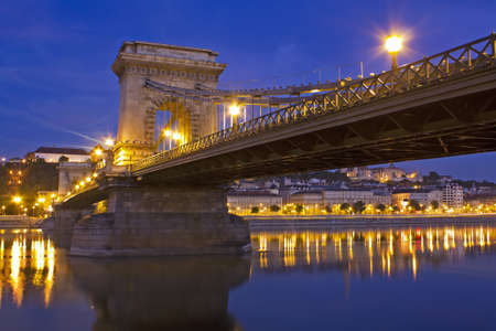 Lanchid or the Chain Bridge in Budapest Hungary over the river danube in the early morning light Stock Photo - 10562208