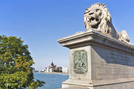 Lion Statue from Lanchid (chain Bridge) protecting Hungarian parliament building on the Blue Danube