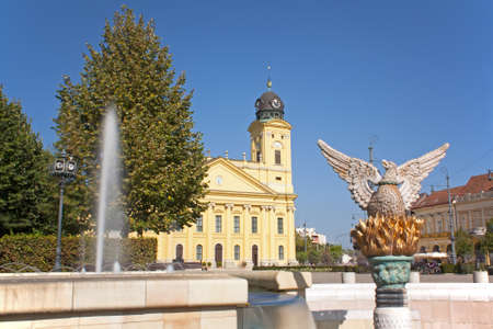 Phoenix statue in the main square of Debrecen Hungary commemorating the re birth of the city  Stock Photo