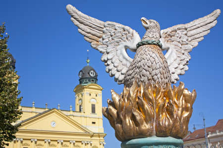 commemorating: Phoenix statue in the main square of Debrecen Hungary commemorating the re birth of the city  Stock Photo