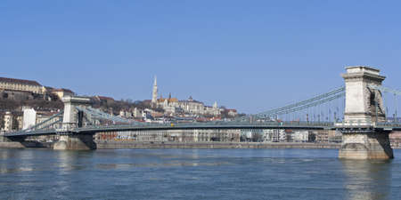 Chain Bridge or Lanchid over the River Danube in Budapest Hungary photo