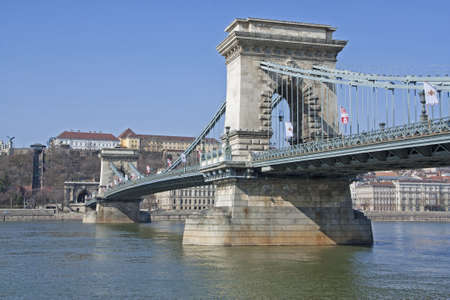 Chain Bridge or Lanchid over the River Danube in Budapest Hungary Stock Photo - 13025894