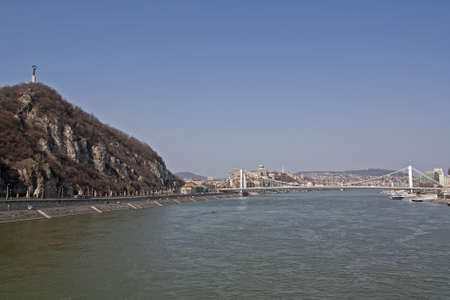 Erzsebet Bridge and the Liberty Statue on Gellert hill across the river Danube in Budapest Hungary Stock Photo - 13025834