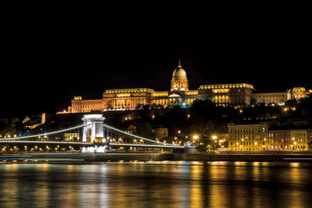Királyi Palota and Chain Bridge Over looking the river Danube in Budapest Stock Photo - 22366573