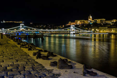 Shoe Monument on the Banks of the river Danube in Budapest Stock Photo - 22366575