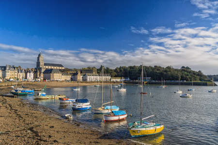 st malo: Pleasure boats moored on the seafront in the Port Des Sablon in St Malo France
