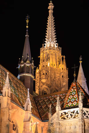 steeples: Steeples of the Matyas Temple in Budapest Hungary illuminated at night