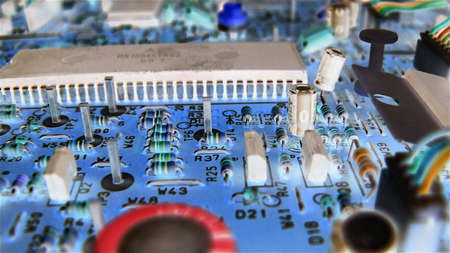 vcr: Circuit board of a VCR with a negative look