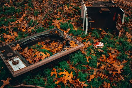 A Shot of an Old Abandoned TV Surrounded by Orange Leaves 版權商用圖片 - 135464024