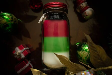 A Flat Lay Photograph of a Christmas Candle Stock fotó - 138449768