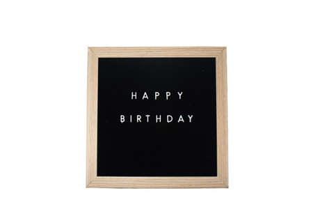 A Black Sign With a Birch Frame That Says Happy Birthday
