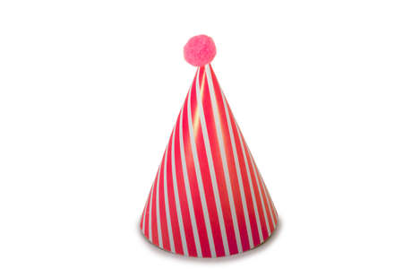 A Red Birthday Hat with Stripes on a Pure White Background