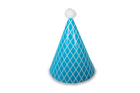A Light Blue Birthday Hat with Stripes on a Pure White Background 版權商用圖片