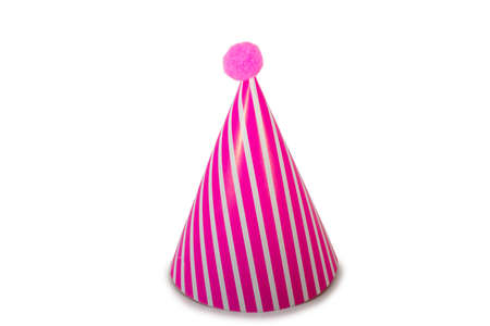 A Pink Striped Birthday Hat on a Pure White Background