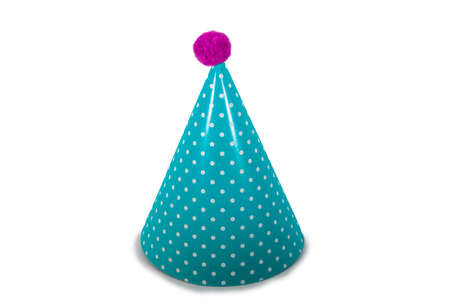 A Light Blue Birthday Hat with Polka-Dots on a Pure White Background 版權商用圖片 - 151604018