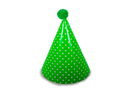 A Green Birthday Hat with Polka-Dots on a Pure White Background 版權商用圖片 - 151603994