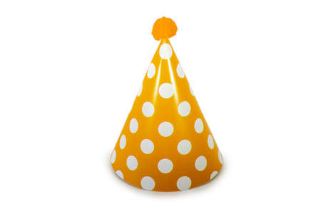 An Orange Birthday Hat with White Polka-Dots on a Pure White Background 版權商用圖片 - 151705439