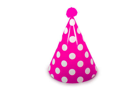 A Pink Birthday Hat with White Polka-Dots on a Pure White Background