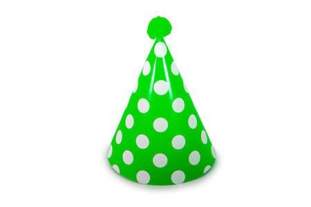 A Light Green Birthday Hat with White Polka-Dots on a Pure White Background 版權商用圖片 - 151705152