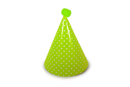 A Light Green Birthday Hat with White Polka-Dots on a Pure White Background 版權商用圖片 - 151705302
