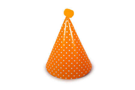 An Orange Birthday Hat with White Polka-Dots on a Pure White Background