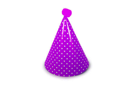 A Purple Birthday Hat with White Polka-Dots on a Pure White Background 版權商用圖片 - 151705542