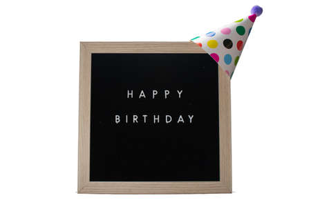 A Birch Framed Sign That Says Happy Birthday in White Letters With a White Party Hat on Top on a Pure White Background
