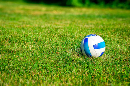 A Blue and White Volleyball in a Dreamy Grass Field in the Summer Time 版權商用圖片