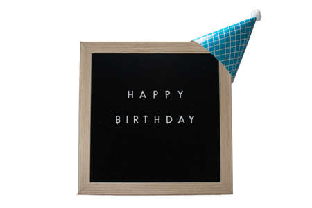 A Birch Framed Sign That Says Happy Birthday in White Letters With a Light Blue Party Hat on Top on a Pure White Background 版權商用圖片