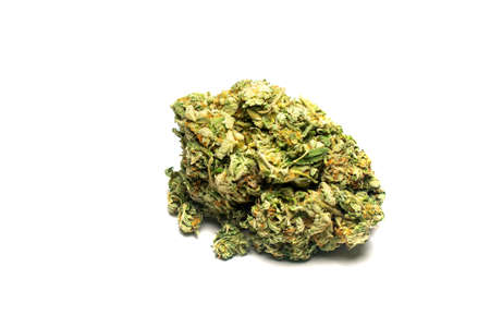 A Large Light Green and Orange Cannabis Nug on a Pure White Background