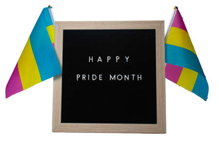 A Black Sign With a Birch Frame That Says Happy Pride Month in White Letters With Pride Flags Behind It on a Pure White Background 版權商用圖片 - 151916953