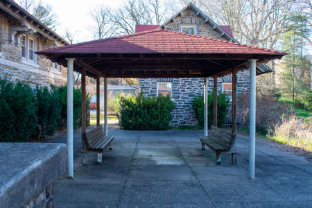 A Red Roofed Gazebo in a Courtyard in an Abadoned Convent in Suburban Pennsylvania