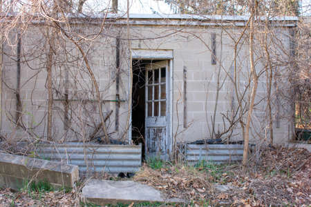 An Abandnoned Concrete Building With the Door Slightly Open and Dead Vines Climbing up the Walls