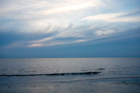 A Whispy Sunset Sky Over the Ocean at the Bay in The Villas, New Jersey