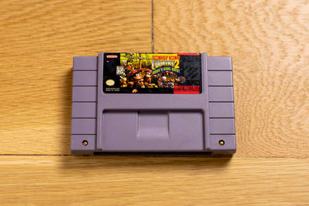 October 25, 2020 - Elkins Park, PA: A Cartridge for Donkey Kong Country 2, Diddy's Kong Quest for the Super Nintendo Entertainment System, a popular retro title.