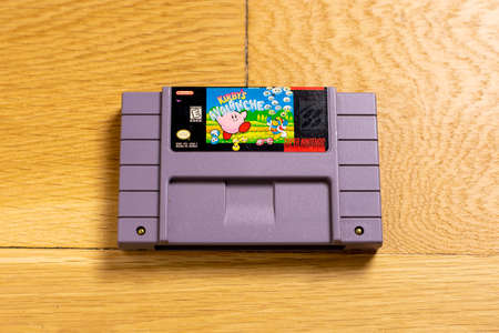 October 25, 2020 - Elkins Park, PA: A Cartridge of Kirby's Avalanche for the Super Nintendo Entertainment System, a Popular Retro Title.