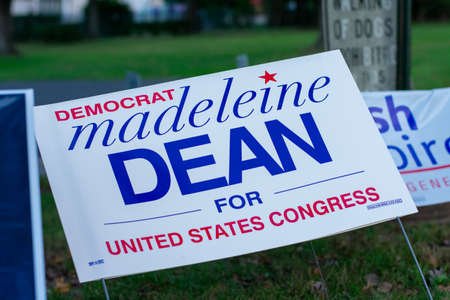 November 3, 2020 - Elkins Park, Pennsylvania: A Madeleine Dean Sign at a Polling Station on Election Day in Elkins Park Pennsylvania