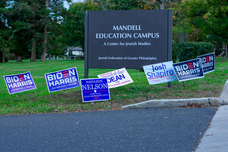 November 3, 2020 - Elkins Park, Pennsylvania: Democratic Election Signs Out Front of a Polling Station at Gratz College in Elkins Park, Pennsylvania