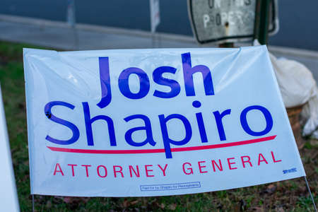November 3, 2020 - Elkins Park, Pennsylvania: A Josh Shapiro Sign at a Polling Station on Election Day at Elkins Park, Pennsylvania