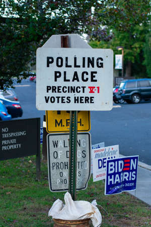 November 3, 2020 - Elkins Park, Pennsylvania: A Polling Place Sign at Gratz College on Election Day in Elkins Park, Pennsylvania