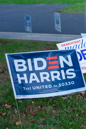 November 3, 2020 - Elkins Park, Pennsylvania: A Biden Harris Sign at a Polling Station in Elkins Park, Pennsylvania