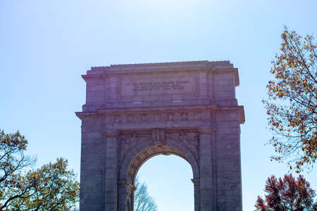 The National Memorial Arch at Valley Forge National Historical Park With the Sun Shining Brightly Behind It Stock Photo
